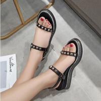 坡跟凉鞋女网红同款新款时尚百搭厚底仙女风罗马ins潮高跟鞋