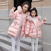 休闲时尚纯色甜美气质2017年冬季长袖棉衣亲子装外套配真毛领