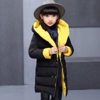 女童冬装新款双面穿棉衣童装时尚加厚中长款纯色儿童厂家直销