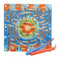 木制环形磁性轨道运笔搬运迷宫 开发儿童智力益智玩具 滑珠子游戏