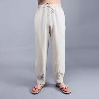 中式唐装汉服中国风男装青年大码宽松棉麻裤子民族服装男士亚麻裤