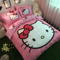 卡通凯蒂猫四件套哈喽KT猫儿童kitty公主风全棉床上4件套床单 浅灰色 香香猫
