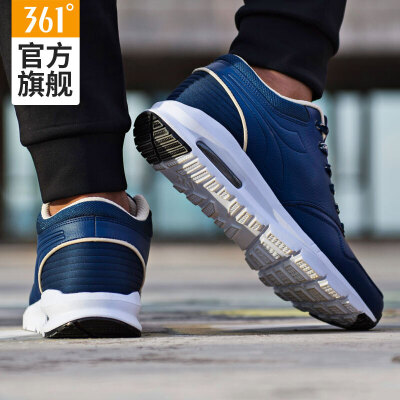 361男鞋皮面运动鞋男子跑步鞋361度冬季Sacair缓震气垫跑鞋男