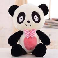 可爱领结熊猫抱枕公仔毛绒玩具玩偶布娃娃创意生日礼物女生