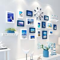 创意3D立体墙贴客厅背景墙上相框贴纸卧室墙纸贴画房间墙壁装饰品 A款 白蓝 超大