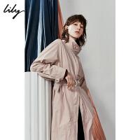 【2件3折 折后价:219】Lily春秋女装简约纯色工装感高领系带口袋风衣119340C1222