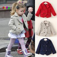 童装女童毛呢短款双排扣大衣儿童短款风衣欧美儿童小西装呢子外套