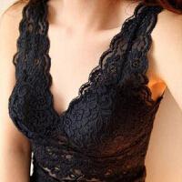女士性感V领蕾丝背心加肥加大码带胸垫吊带内衣胖mm打底衫中长款