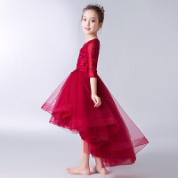 女童公主裙蓬蓬纱儿童钢琴演出服花童婚纱裙冬