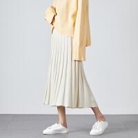 [1件2.5折�r62元]唐�{新款半身裙中�L款秋冬裙子女字裙女��裙女�@瘦毛�裙