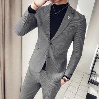 新品韩版西服合身剪裁装饰小花千鸟格男士西装修身绅士加厚 灰色