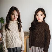 女童高领毛衣2017冬装韩版亲子装中大童加厚针织套头儿童打底毛衣