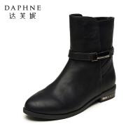 达芙妮女靴秋冬中筒靴子时尚美靴侧拉链圆头方跟低跟休闲女士短靴