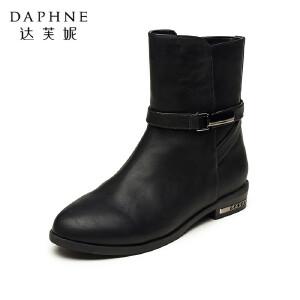 Daphne/达芙妮女靴秋冬中筒靴子时尚美靴侧拉链圆头方跟低跟休闲女士短靴