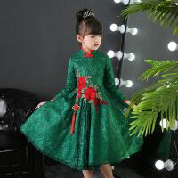 花童婚纱女孩钢琴演出 儿童礼服公主裙秋季女童蓬蓬裙主持表演 绿色