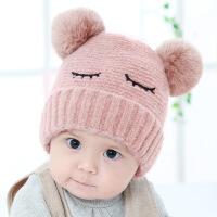 婴儿帽子秋冬3-6-12个月女宝宝公主韩版毛线帽男儿童小孩毛线帽子