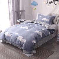 全棉纯棉卡通床上三件套1.2/1.5m学生宿舍儿童单人被套床单