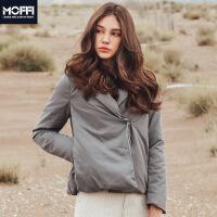MOFFI女式羽绒服2017冬季新款纯色保暖短款长袖系带欧美女式外套