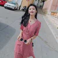 2018夏季新款韩版ins超火复古红格子连衣裙女小清新学生收腰A字裙 红格子