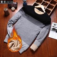 冬装男士毛衣韩版圆领长袖针织衫加绒加厚冬季潮流个性毛线衣男装