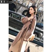 冬季新款韩版时尚百搭中长款毛呢外套呢子大衣+针织连衣裙两件套