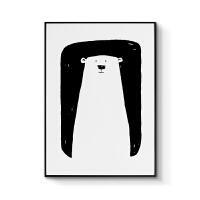 北欧风格装饰画客厅现代简约三联画黑白组合卧室创意挂画萌萌动物 70x100cm嵌框 单幅价格 北欧经典黑