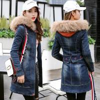 中长款牛仔棉衣女韩版冬休闲连帽毛领收腰加厚牛仔大衣外套