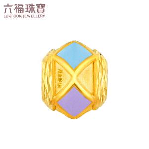 六福珠宝金饰魅力彩色马赛克黄金珐琅转运珠手绳定价L01A170126