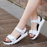 凉鞋女学生夏2018新款韩版百搭真皮鞋子平跟女生平底少女大童女鞋 白色 白色