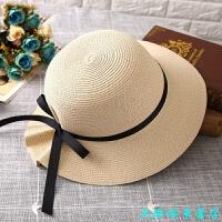 草帽女夏天防晒遮阳帽子韩版可折叠太阳帽休闲百搭沙滩帽出游 可调节