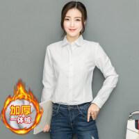 2018早秋装新款加绒衬衫女长袖韩版宽松上衣服保暖外套学生白衬衣