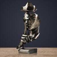欧式沉默是金办公室摆件冷铸铜创意雕塑家居装饰品工艺品商务礼品