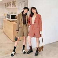 七格格西装外套女2019新款秋季长袖短款韩版修身洋气格子小西服潮