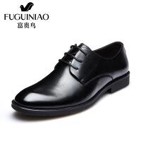 富贵鸟商务正装皮鞋男士尖头系带真皮青年鞋子新款英伦风婚鞋男鞋