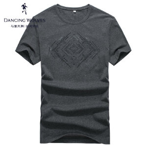 与狼共舞短袖T恤2017夏季新款男装圆领烫钻纯棉男士体恤衫6688