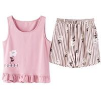 背心睡衣女夏季 韩版可爱清新可外穿学生甜美薄款短裤家居服