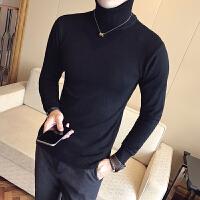 秋冬新款时尚6色纯色针织衫男装韩版修身男士高领毛衣英伦套头衫