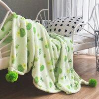 家纺冬季保暖珊瑚绒毛毯单人沙发盖毯法莱绒法兰绒毯卡通可爱毯子球毯 绿色
