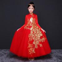 女童旗袍长袖主持人演出服装 儿童礼服秋季长裙女孩公主裙走秀模特