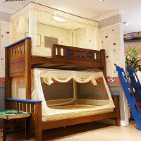 学生上下铺蚊帐 双层蚊帐 儿童实木床上下高低床母子床蚊帐 黄色下铺 底宽150 长190 高90 顶120 其它