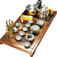 唐丰整套实木茶盘玲珑镂空陶瓷自动茶具套装茶台功夫四合一电热炉