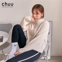 chuu时尚抓绒小款外套女保暖毛绒2019冬季新款韩版潮ins外穿上衣
