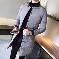 年冬季中长款棉衣男士韩版修身加厚青年帅气棉袄外套男潮