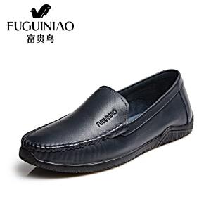 富贵鸟2017春季新款头层牛皮套脚休闲鞋豆豆鞋男皮鞋子驾车鞋