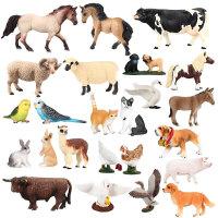 仿真动物模型玩具套装农场动物牛马绵羊鸡鸭鹅狗犬驴