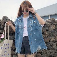 夏装女装韩版个性钉珠水洗破洞复古毛边牛仔马甲无袖背心上衣外套 蓝色 均码