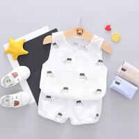 男童夏装宝宝背心棉麻两件套婴幼儿童夏季无袖套装薄
