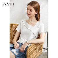 Amii�O�感白色短袖�H�wT恤女2020夏季新款斜V�I�i骨小心�C上衣潮