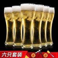 �o�U玻璃杯啤酒杯 耐�崴�杯果汁杯�料杯�_口杯6只套�b
