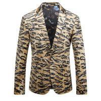 四季款英伦男豹纹西服 印花男士礼服品质西装外套